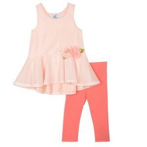 Pippa & Julie pink mesh peplum flower shirt 18 mos